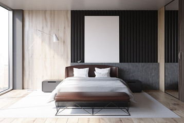 Loft bedroom interior, poster, front view
