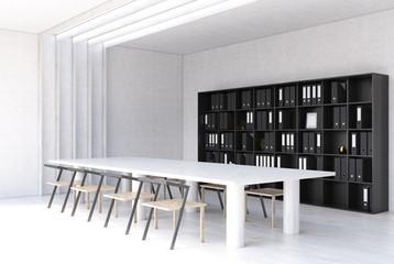 White modern meeting room interior side