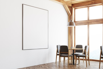 White and wooden cafe interior, poster