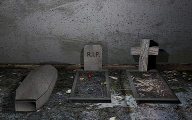 Gräber vor einer verwitterten Wand mit schlammigen Boden