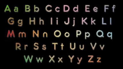 Color alphabet letters black background