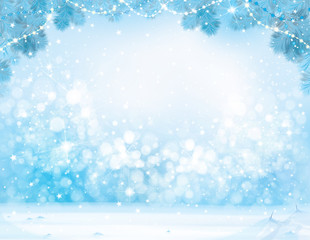 Vector blue  Christmas, winter  background.