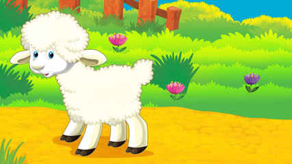 cartoon scene with sheep standing on the meadow and looking illustration for children