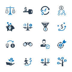 Money Making Strategy Icons - Blue Version