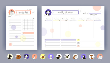 Organizer and Schedule with Notes and To Do List for 2018 New Year. The template is decorated with icons and drawings of dog breeds. Template. Vector. Isolated