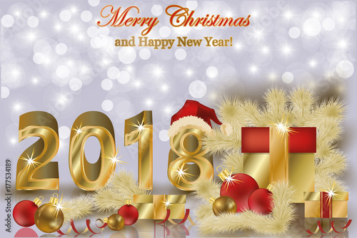 merry christmas and happy new year 2018 golden background vector illustration