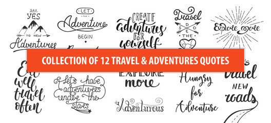 Set of adventure and travel vector hand drawn unique typography design element for greeting cards, decoration, prints and posters. Modern calligraphy. Handwritten lettering. Wall mural