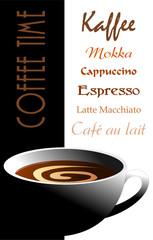 Kaffee mit Crema in Kaffeetasse mit Schrift
