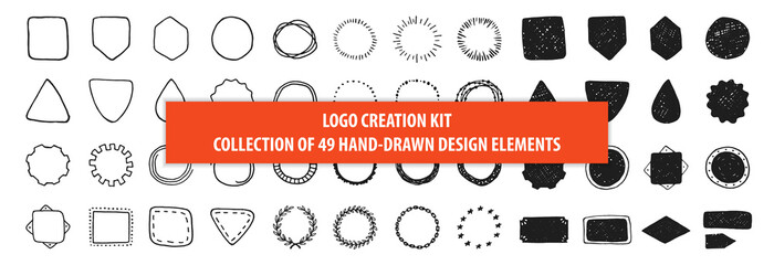 Set of 49 vintage hand drawn vector design elements, signs and symbols templates for your logotype, emblems. Collection of simple doodles frames, ribbons and labels isolated on white background.