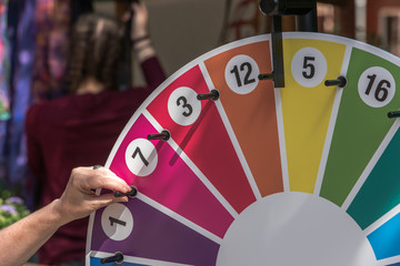 The wheel of fortune hung up at a festival. Animation for young and old.