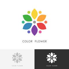 Color flower logo - bright colored blossom with petals or colour wheel symbol. Design, art and creativity vector icon.