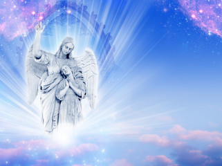 Wall Mural - a guardian angel over a divine gate with mystical rays of light and pink stars