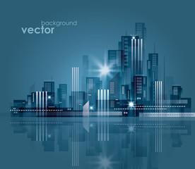 Night cityscape. Vector illustration