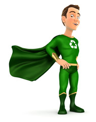 3d green hero standing with cape in the wind