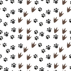 Vector seamless pattern with animal footprints. Can be used for wallpaper, web page background, surface textures.