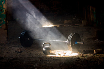 Cross Fit workout equipment in abandoned factory