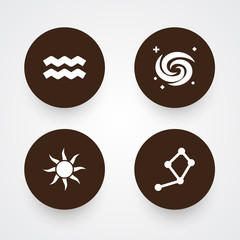 Set Of 4 Galaxy Icons Set.Collection Of Space, Solar, Water Bearer And Other Elements.