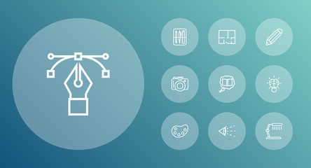 Set Of 10 Creative Outline Icons Set.Collection Of Brain, Bezier Curve, Pencil And Other Elements.
