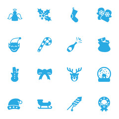 Set Of 16 Holiday Icons Set.Collection Of Gnome, Sack, Santa Sleigh And Other Elements.