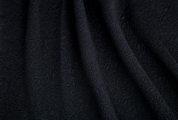 soft black fabric with embossed pattern patterns