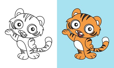 Cute Tiger Say Hello Vector Cartoon For Coloring Book or Page, Preschool and Children