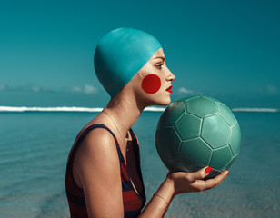 Stylized portrait of a girl with a soccer ball