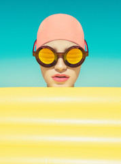 Stylized portrait of a girl with sunglasses