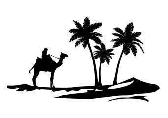 Palmen und Kamel wandtattoo