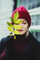 portrait of a girl in a hat, autumn