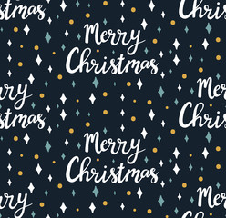 Christmas lettering seamless vector pattern