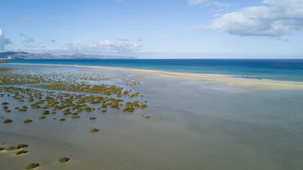 aerial view of deserted beach, lagoon sotavento , fuerteventura, canary islands