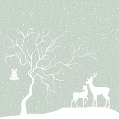 Greeting Christmas card with tree and deers