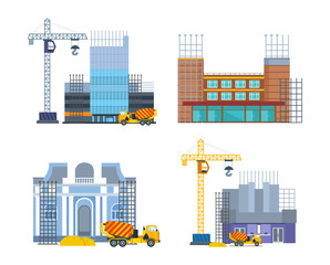 Building work process with houses and construction machines. City, house.