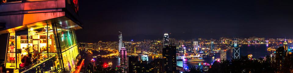 Skyline of Hong Kong at night Wall mural