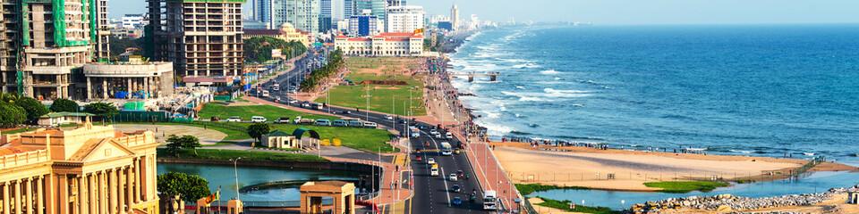 Aerial view of Colombo, Sri Lanka modern buildings
