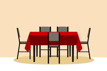 Table with chair. Vector illustration table for festive holiday romantic dinner. Flat style.