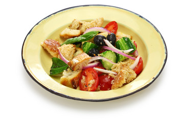 panzanella, Tuscan bread and tomato salad, italian cuisine