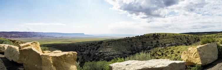 Panorama: Marble Canyon Hwy 89 between Bitter Springs and Page, panoramic view, summer 2017 - Arizona, AZ, USA