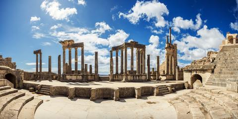 The Roman Theater. Tunisia, Dougga. Ruins, Roman architecture. Travel, Africa. Wall mural