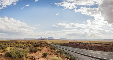 Panorama: Forest Gump Point Monument Valley scenic panorama on the road - Arizona, AZ, USA