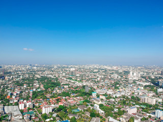 Top aerial view photo from drone of a developed Bangkok city with modern skyscrapers