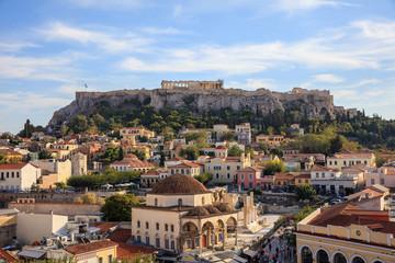 Printed kitchen splashbacks Athens Athens, Greece. Acropolis rock and Monastiraki square