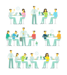 Office team business people big set discussing meeting sit at the table working. Brainstorming talking optimistic