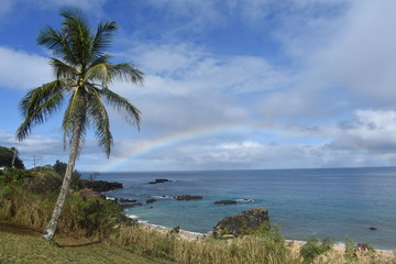 Rainbow above the Waimea bay