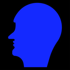 Silhouette of a male head, psychological image