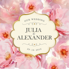 Wedding invitation with delicate pink flowers