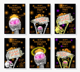 Set of Halloween holidays hand drawn invitation poster or greeting card with handwritten words and phrases calligraphy greetings. Even dead can dance. Vector.