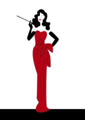 shop logo fashion woman, silhouette diva. Company logo design,  Beautiful cover girl retro , isolated