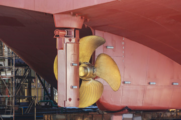 Newly constructed hull with screw propeller and steering mechanism Wall mural
