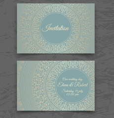 Vintage wedding invitation or business card templates. Cover design with gold mandala ornaments. Vector traditional decorative backgrounds with round frame. Islam, Arabic, Indian, Dubai style